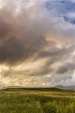 Islândia, grama, nuvens, céu