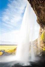 Iceland, waterfall, Seljalandsfoss, clouds, sky