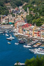 Preview iPhone wallpaper Italy, Portofino, bay, sea, boats, yachts, houses