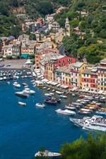 iPhone обои Италия, Портофино, залив, море, лодки, яхты, дома