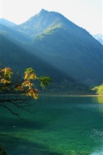 Preview iPhone wallpaper Jiuzhaigou National Park, China, lake, mountain, trees, sun rays, green