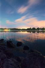 Preview iPhone wallpaper Lake, rocks, grass, trees, stars, lights