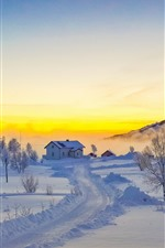 Preview iPhone wallpaper Lofoten Islands, snow, mountains, trees, fog, winter, house, Norway