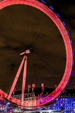 Preview iPhone wallpaper London, England, ferris wheel, lights, night