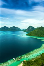 Preview iPhone wallpaper Malaysia, mountains, island, sea, coast, pier