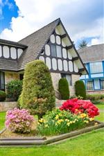 Vorschau des iPhone Hintergrundbilder Herrenhaus, Villa, Garten, Blumen, Wiese