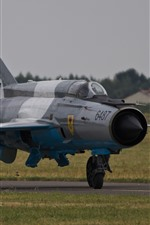 MiG-21 fighter, airplane, airport