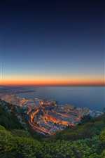 Monaco, coast, sea, city, night, lights, mountains