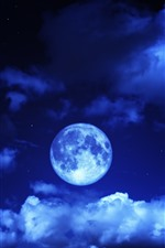 Preview iPhone wallpaper Moon, sky, clouds, blue, night