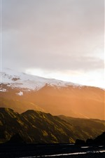 Preview iPhone wallpaper Mountains, snow, sun rays, fog, valley