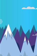 iPhone обои Горы, солнце, векторное изображение