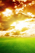 Preview iPhone wallpaper Nature landscape, fields, clouds, sunset, sky, green