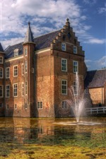 Preview iPhone wallpaper Netherlands, fountain, castle, lake