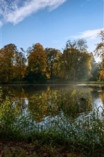 Preview iPhone wallpaper Netherlands, park, pond, grass, sunshine, autumn