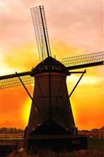 Preview iPhone wallpaper Netherlands, windmill, sunset, red sky