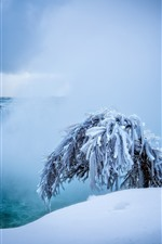 Preview iPhone wallpaper Niagara falls, waterfalls, snow, tree, winter
