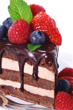 One slice cake, chocolate, strawberry, blueberry, white background