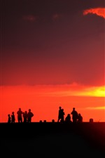 Preview iPhone wallpaper People, silhouette, sunset, sun, red sky