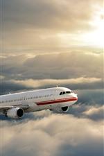 Plane, flight, sky, sun, clouds