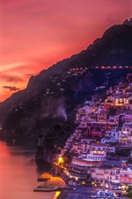 Preview iPhone wallpaper Positano, Italy, sea, coast, houses, lights, night, red sky