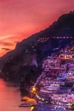 Positano, Italy, sea, coast, houses, lights, night, red sky