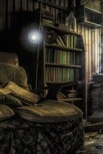 iPhone обои Комната, книги, диван, окна, пыль, руины