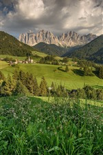 Preview iPhone wallpaper Santa Magdalena, Italy, Dolomites, mountains, houses, trees, field