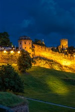 Preview iPhone wallpaper Serbia, Belgrade Fortress, slope, trees, lights, night