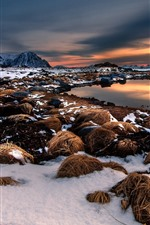 Preview iPhone wallpaper Snow, hay, pond, mountains, sunset, winter