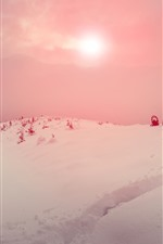 Preview iPhone wallpaper Snow, trees, winter, mountain, sky, sun, fog