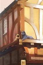 Preview iPhone wallpaper Two cats, houses, city, art painting