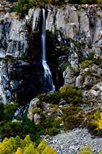 Preview iPhone wallpaper Waterfall, rocks, trees, autumn