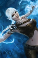 Preview iPhone wallpaper White hair fantasy girl, magic, art picture