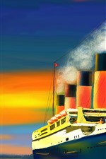 Preview iPhone wallpaper Art painting, ship, smoke, passengers, sea, sun