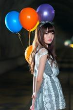 Asian girl, look back, colorful balloon, night