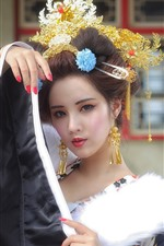 Preview iPhone wallpaper Beautiful Chinese girl, retro style, decoration