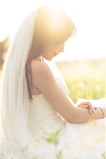 Preview iPhone wallpaper Beautiful bride, girl, wildflowers, sunshine, romantic