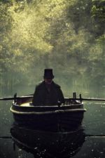 Barco, homem, rio, nevoeiro, árvores