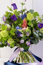 Bouquet, purple and green flowers