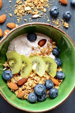 Preview iPhone wallpaper Breakfast, muesli, kiwi, blueberries, nuts