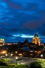 Preview iPhone wallpaper Canada, Quebec, night, city, houses, lights, park