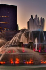 Chicago, fountain, buildings, dusk, city, USA