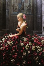 Preview iPhone wallpaper Creative design, blonde girl, flowers skirt