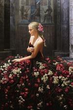 Creative design, blonde girl, flowers skirt