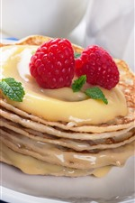 Preview iPhone wallpaper Delicious food, pancake, strawberry