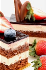 Preview iPhone wallpaper Dessert, cake, strawberry, blueberry, sweet food