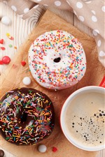 Preview iPhone wallpaper Donut and coffee, colorful decoration