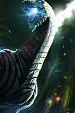 Preview iPhone wallpaper Dragon, warrior, sword, war, art picture