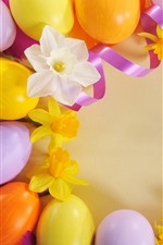 Preview iPhone wallpaper Easter eggs, ribbon, yellow flowers