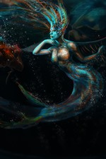Preview iPhone wallpaper Fantasy girl, mermaid, tail, diving, art picture